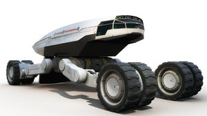 3D science fiction cargo vehicle model