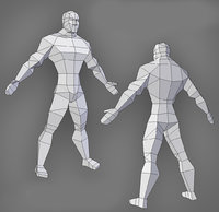 Low poly male model muscles