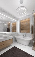 Luxurious bathroom with marble tile