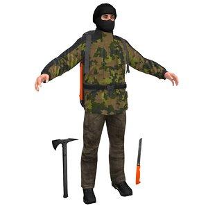 3D survivor man backpack model