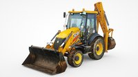 JCB 3CX low-poly excavator