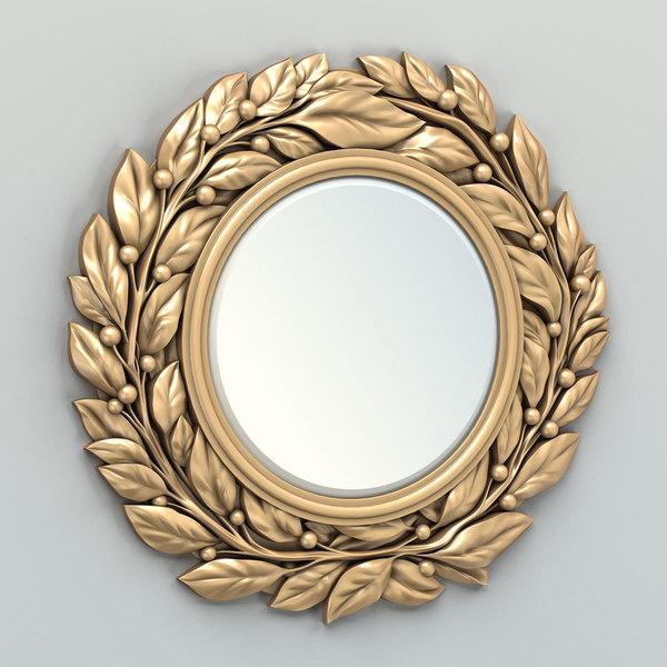 Carved Mirror Frame 3d Model, Carved Wood Frame Round Mirror