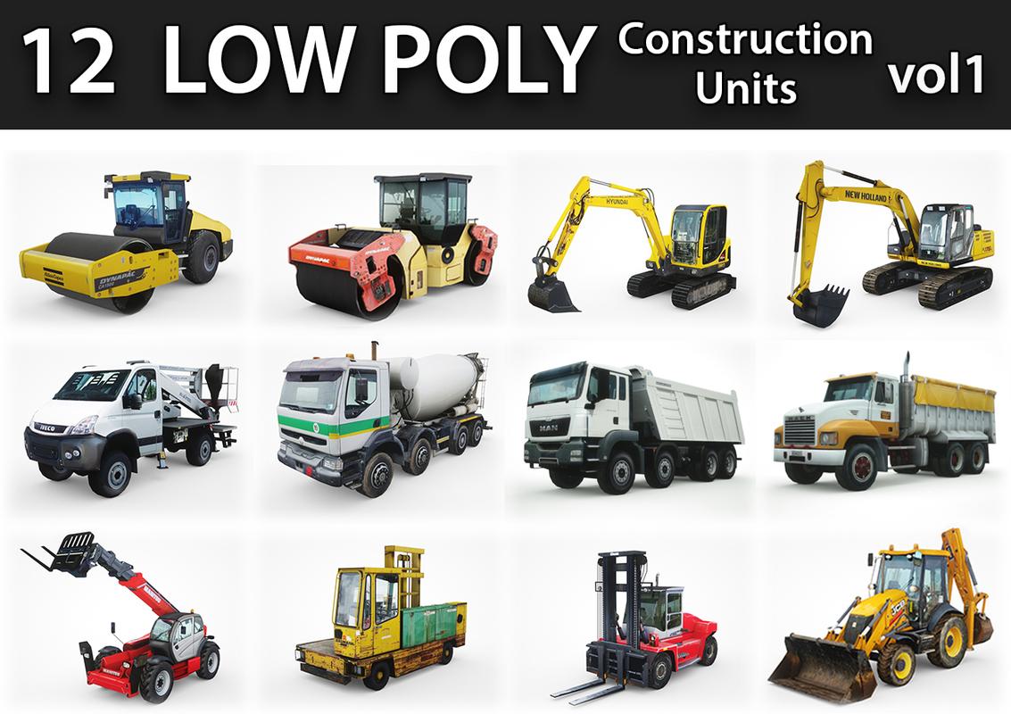 low-poly construction units 3D model