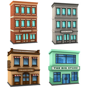 pack cartoon building 3D model