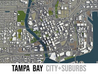 city tampa area surroundings 3D