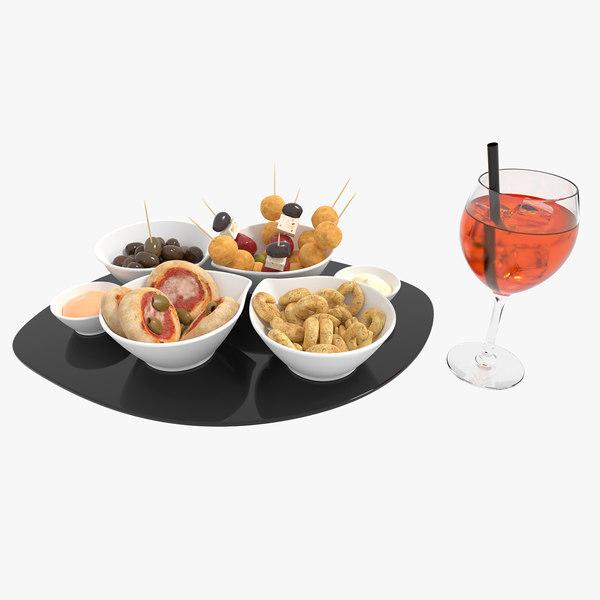 3D model italian appetizer food