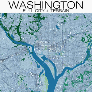 3D model washington terrain buildings city