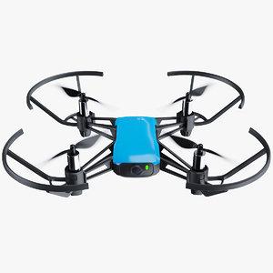 3D dji tello drone blue model