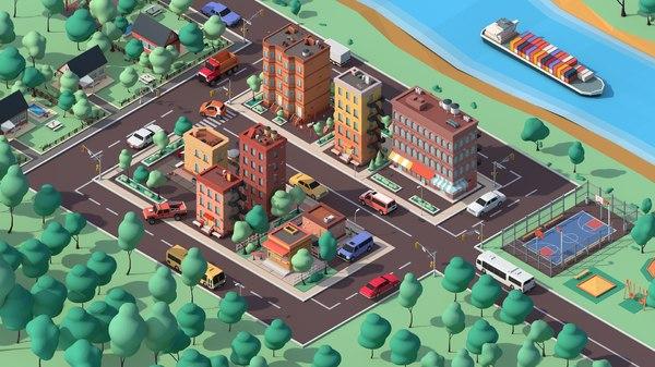 3D cartoon city cars