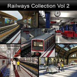 subway station metro train 3D model
