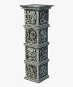 3D model column aztec pillar