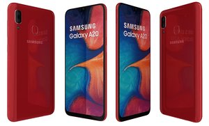 3D samsung galaxy a20 red model