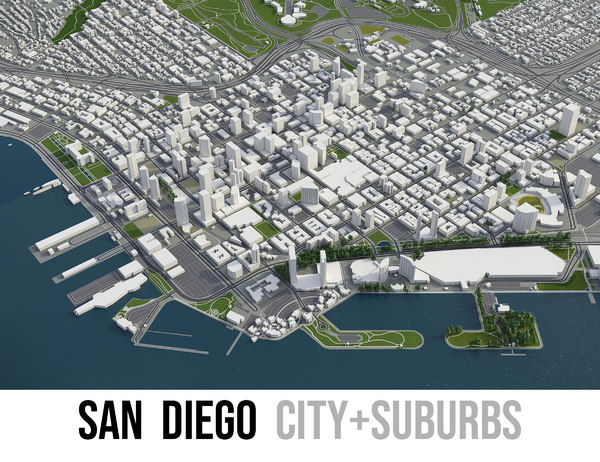 3D city san diego surrounding