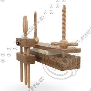 3D model historical bookbinding press planer