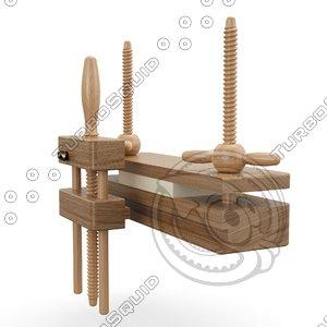 3D model historical bookbinding press planer
