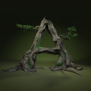 3D tree letter leaves
