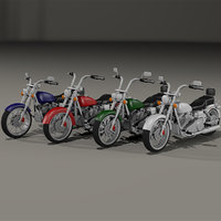 custom chopper bike 3D model