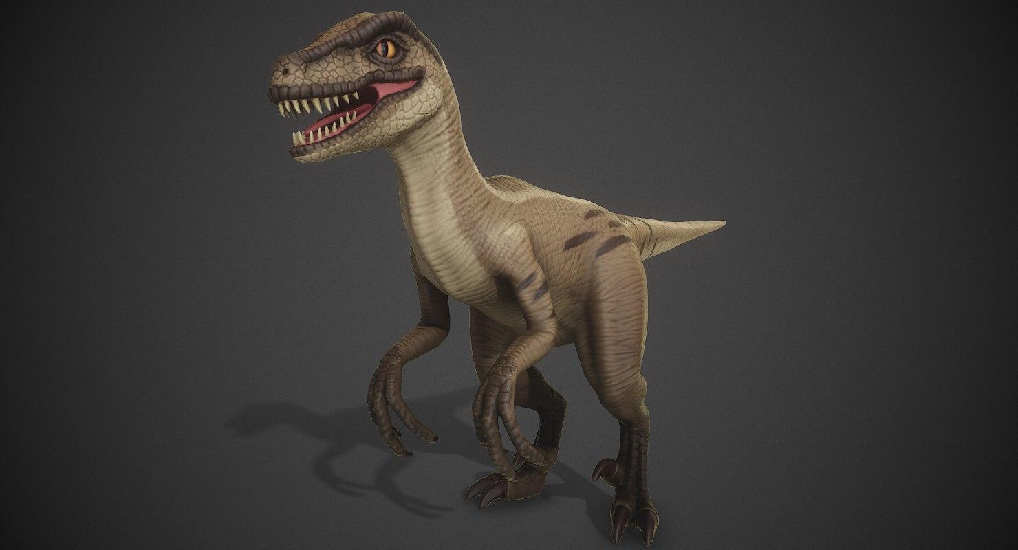 3D cartoon stylized veloceraptor