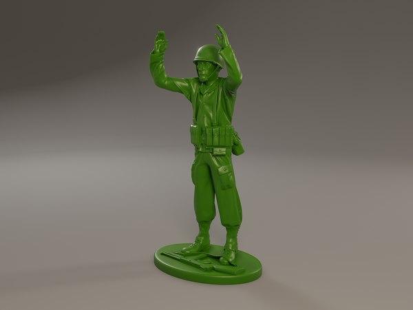 3D american soldier ww2 surrender