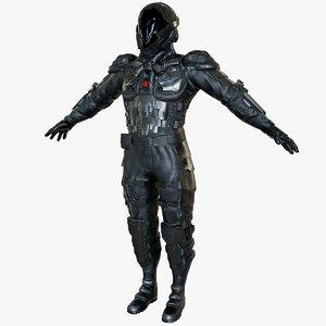 sci-fi soldier armor 3D model