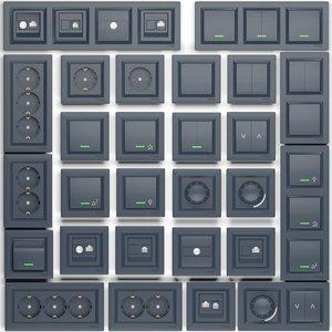 3D set sockets switches schneider