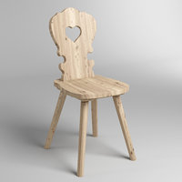 3D wood rustic chair