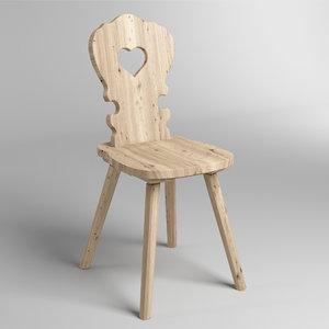 3D wood rustic chair