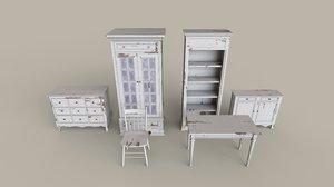antique bookshelf drawer 3D model