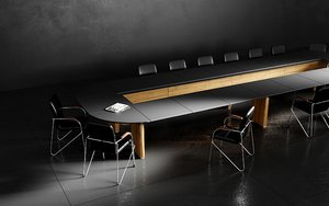 3D black conference table office