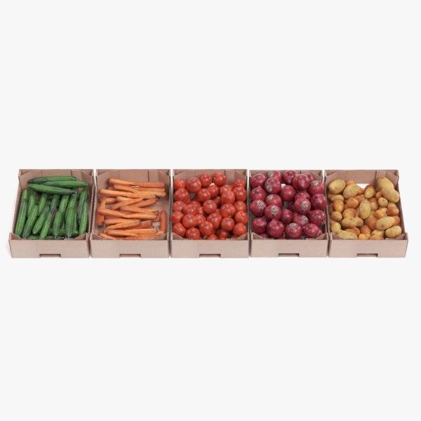 vegetable boxes 3D model
