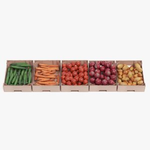 vegetable boxes 3D model