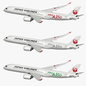 airbus xwb japan airlines 3D