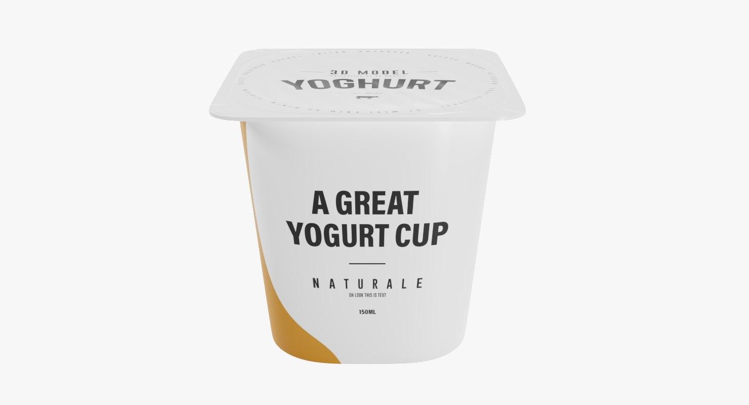 3D square yogurt cup 150ml model