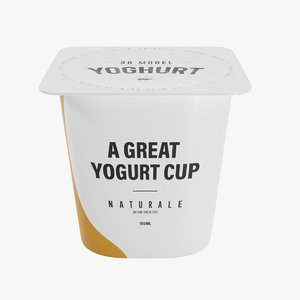 3D square yogurt cup 150ml model