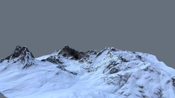 3D mountain terrain snow