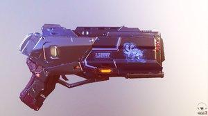 3D sci fi energy pistol model