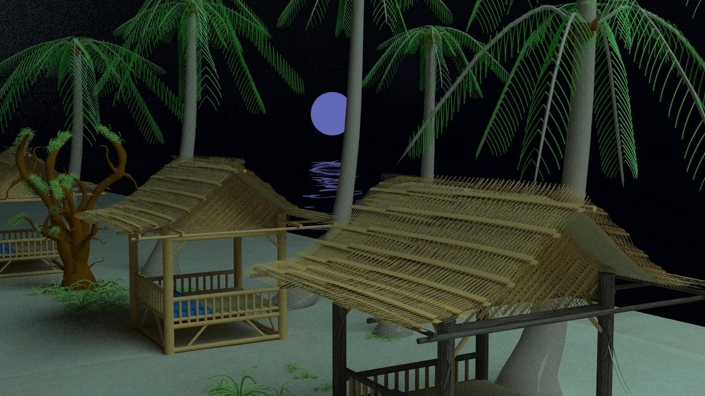 3D bungalow beach model
