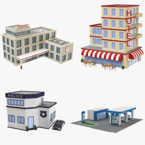 3D cartoon buildings hotel hospital model