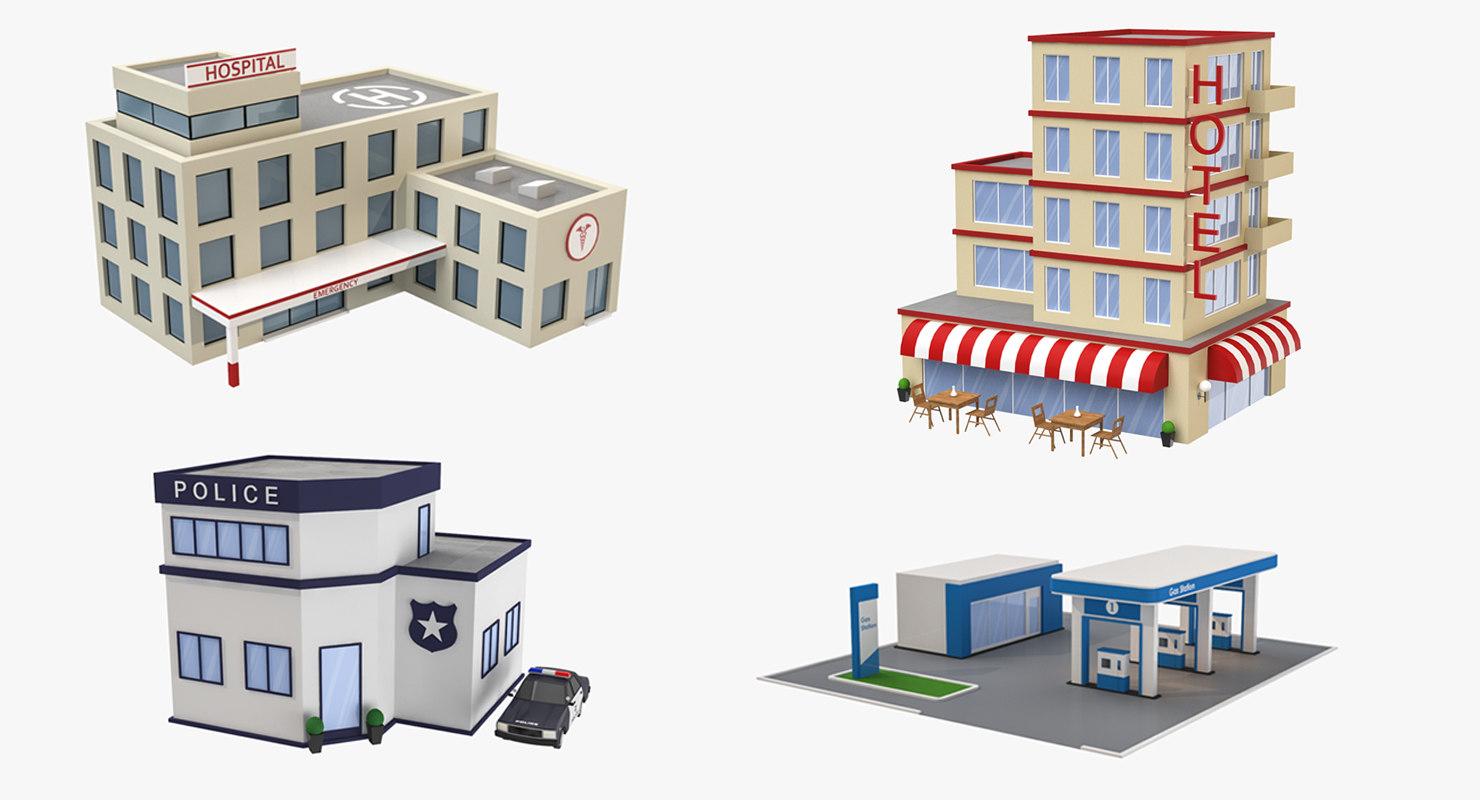 3D cartoon buildings hotel hospital model