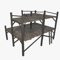 3D wooden scaffolding model