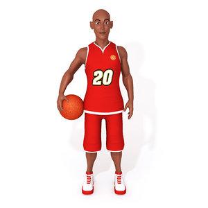 3D cartoon basketball player