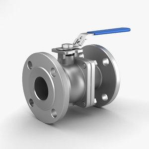 flanged ball valve 3D