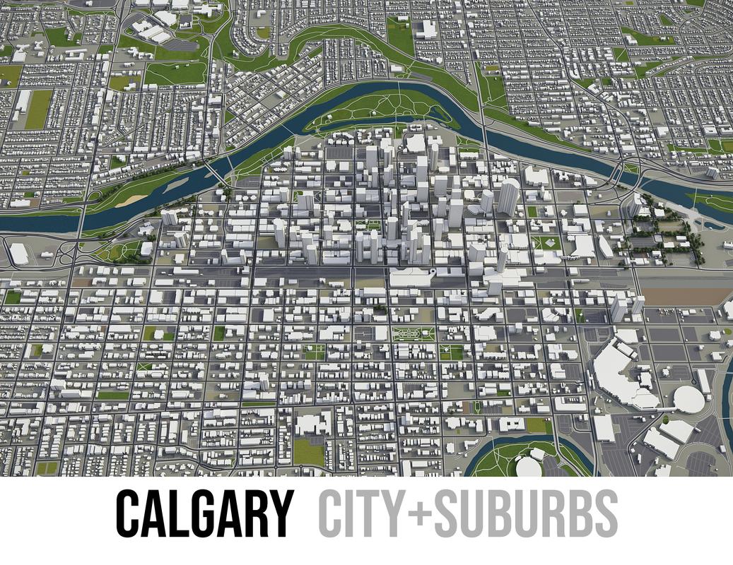 3D city calgary surrounding area model