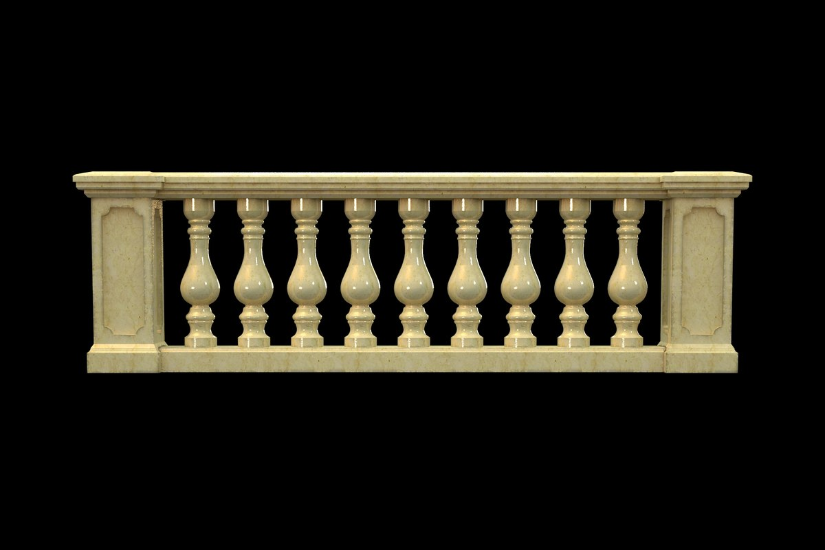 classic balustrade architectural 3D