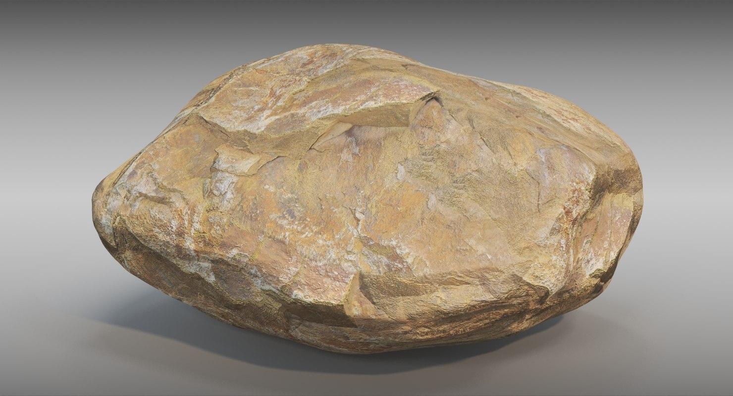 french coastline rock block 3D model