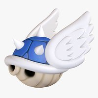 Turtle Koopa Troopa Shell Blue Wings Super Mario 3D model