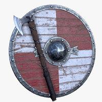 3D vikings axe shield model
