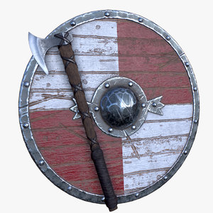 3D vikings axe shield model
