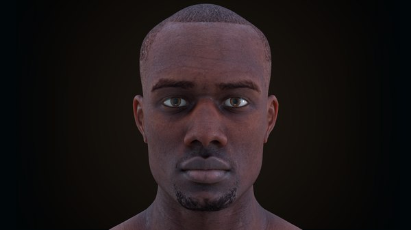 male character rig head face model