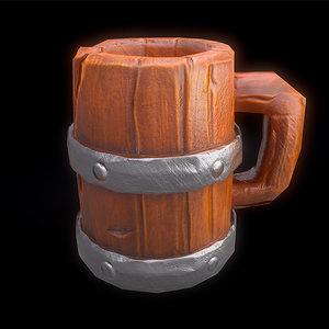 wooden mug beer model